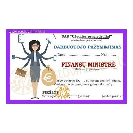 """Darbuotojo pažymėjimas """"Finansų ministrė"""""""
