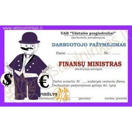 """Darbuotojo pažymėjimas """"Finansų ministras"""""""
