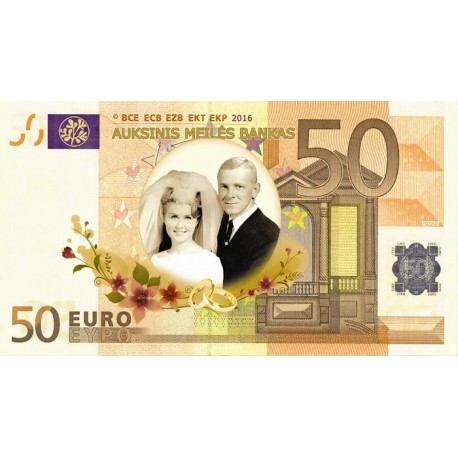 Auksinių vestuvių eurai su foto