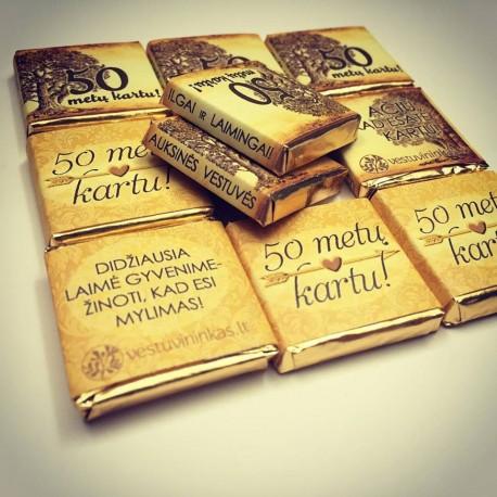 EXCLUSIVE mini šokoladukai AUKSINIŲ VESTUVIŲ PROGA, nuo 50 vnt.